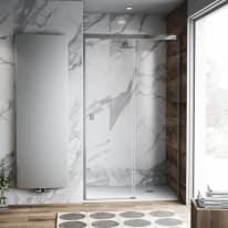 Porta doccia scorrevole Neo Plus 137-139, H 200 cm vetro temperato 6 mm trasparente/cromo PVD
