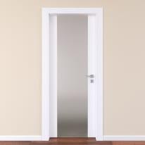 Porta da interno battente Plaza Vetro frassino bianco 90 x H 210 cm sx