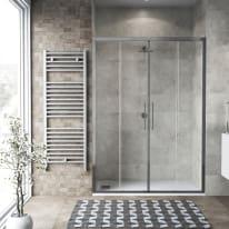 Porta doccia scorrevole Record 142-146, H 195 cm vetro temperato 6 mm trasparente/silver lucido