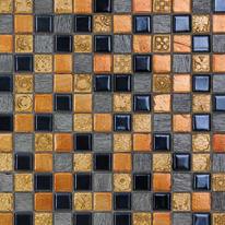 Mosaico Sun & dark 30 x 30 cm nero, arancione, grigio, oro