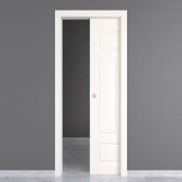 Porta da interno scorrevole Coconut Groove bianco 70 x H 210 cm reversibile