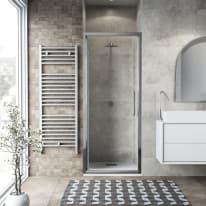 Porta doccia battente Record 67-71, H 195 cm vetro temperato 6 mm trasparente/silver lucido