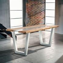 Tavolo Vertigo verniciato bianco legno e vetro L 160 x P 85 x H 80 cm grezzo