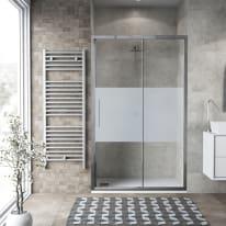 Porta doccia scorrevole Record 137-141, H 195 cm vetro temperato 6 mm serigrafato/silver lucido