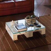 Pallet singolo legno L 80 x P 60 x H 14,5 cm verniciato bianco
