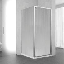 Porta doccia battente Oceania 84-90, H 195 cm vetro temperato 5 mm silver