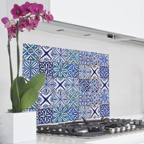 Sticker Kitchen Pannel blue azulejos