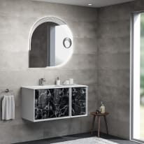Mobile bagno Bellagio bianco con frontale black stone L 105 cm