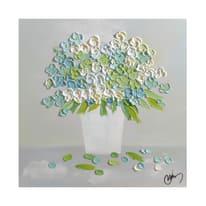 quadro dipinto a mano Bouquet blu 60x60