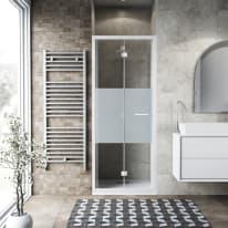 Porta doccia Record 77-81, H 195 cm vetro temperato 6 mm serigrafato/bianco opaco