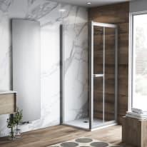 Doccia con porta pieghevole e lato fisso Namara 115 - 120 x 77.5 - 79,5 cm, H 195 cm cristallo 8 mm trasparente/silver