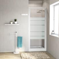 Porta doccia battente Nerea 67-70, H 185 cm cristallo 4 mm serigrafato/bianco lucido