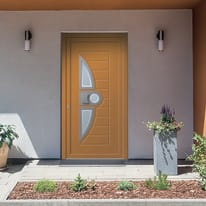 portoncino d'ingresso alluminio Modern4 arancione L 90 x H 210 dx