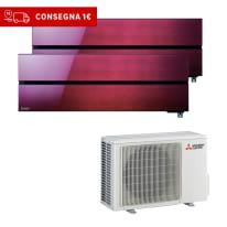 Climatizzatore fisso inverter dualsplit Mitsubishi LN 9000 + 9000 BTU classe A+++ rosso