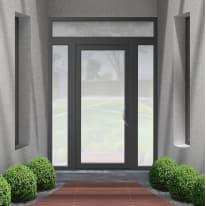 portoncino d'ingresso alluminio Condo23 grigio L 170 x H 250 sx