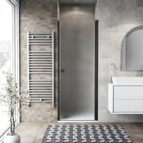 Porta doccia battente Neo 77-81, H 201,7 cm vetro temperato 6 mm nero
