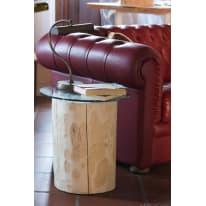 Tavolino legno e vetro Ø 45 x H 46 cm grezzo
