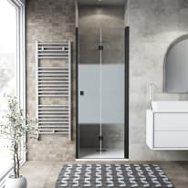 Porta doccia Neo 82-86, H 201,7 cm vetro temperato 6 mm serigrafato/nero