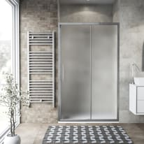 Porta doccia scorrevole Record 117-121, H 195 cm vetro temperato 6 mm satinato/silver lucido