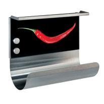 Porta rotolo carta assorbente adesivo Peperoncino in vetro temprato