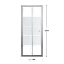 Porta doccia pieghevole Dado 90 cm, H 185 cm in vetro temprato, spessore 5 mm smerigliato cromato