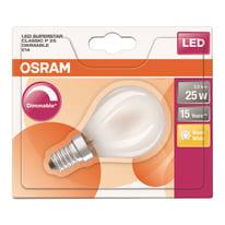 Lampadina LED E14 sferico bianco caldo 2.5W = 250LM (equiv 25W) 300° OSRAM