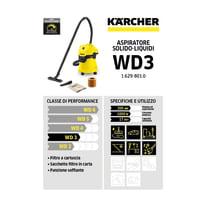 Aspiratore solidi e liquidi KARCHER WD 3 aspirazione 23 kPa 17 L 1000 W