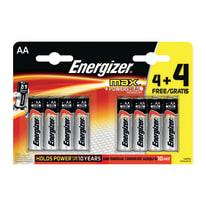 Pila alcalina AA ENERGIZER MAX 4+4 8 batterie