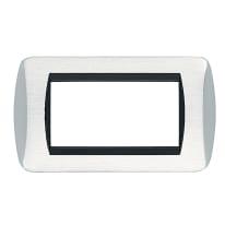 Placca CAL 4 moduli cromo lucido/satinato compatibile con living international