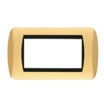 Placca CAL 4 moduli ottone satinato compatibile con living international