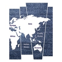 Sticker Denim world map 14x73 cm
