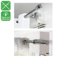 Bastone per tenda a pressione estensibile IB+ in acciaio Ø25mm bianco satinato da 100 a 180 cm