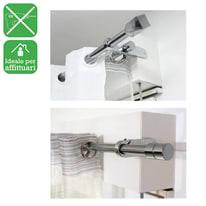 Bastone per tenda a pressione estensibile IB+ in acciaio Ø25mm bianco satinato da 60 a 100 cm