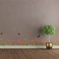 Sticker Poppies & butterflies 12.5x34 cm