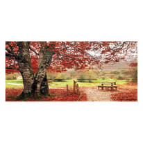 Quadro in legno Red bench 50x110 cm
