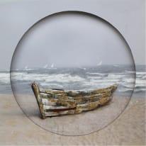Quadro dipinto a mano Ocean Boat 80x80 cm