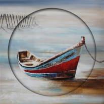 Quadro dipinto a mano Private Boat 80x80 cm
