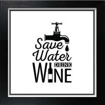 Stampa incorniciata Save Water Drink Wine 30x30 cm