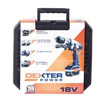 Trapano avvitatore a batteria DEXTER POWER , 18 V1.5 Ah, 2 batterie