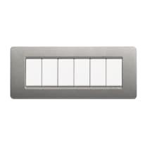 Placca BTICINO Matix 6 moduli titanium