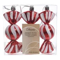 Confezione da tre caramelle da appendere in plastica rosse e bianche Ø 4 cm