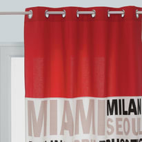 Tenda In the city rosso occhielli 140x250 cm