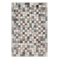 Tappeto Leather patch mosaic grigio 160x230 cm