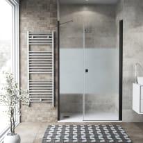 Box doccia battente 130 x 70 cm, H 200 cm in vetro, spessore 6 mm serigrafato nero