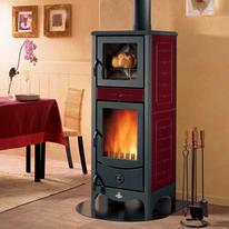 Stufa a legna con forno Simona 8 kW bordeaux