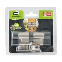 Cilindro Europeo 2 ingressi chiave STANDERS in ottone nichelato 30 + 30 mm interasse 30 mm