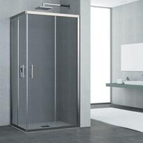 Box doccia rettangolare 80 x 100 cm, H 190 cm in vetro temprato, spessore 6 mm fumé grigio