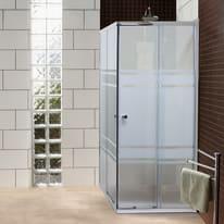 Box doccia rettangolare 80 x 100 cm, H 185 cm in vetro temprato, spessore 5 mm serigrafato argento