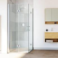 Box doccia quadrato pieghevole 90 x 90 cm, H 195 cm in alluminio e vetro, spessore 8 mm trasparente argento