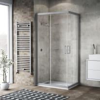 Box doccia scorrevole 100 x 99 cm, H 200 cm in alluminio e vetro, spessore 6 mm vetro di sicurezza serigrafato argento